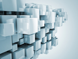Abstract construction illustration - 3d cubes