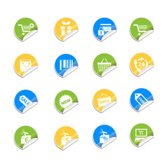 Paper cut - Shopping icons set - Vector illustration