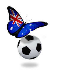 Concept - butterfly with Australian flag flying near the ball, l