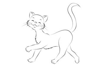 10 Katze spazierend Outlines Malbild