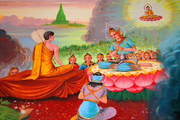 Buddha's biography painting on wall, Wat Kud Sui, Mahasarakham