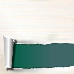 liniertes schmutziges papier mit riss