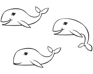 Outline drawing whale