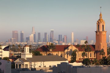 Fotobehang - Hollywood and downtown Los Angeles cityscape