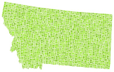 Map of Montana - USA - in a mosaic of green squares
