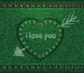 Jeans heart arrow green