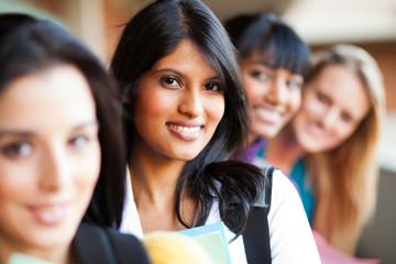 group of female college girls closeup portrait