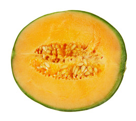 Half melon isolated on white background with clipping path