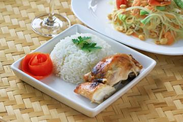 Chicken rice on bamboo floor