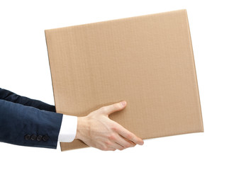 Shop assistant gives the parcel, isolated, white background