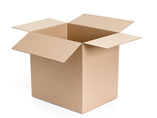 Opened cardboard package, isolated, white background