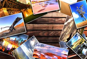 Photos on the wood desk