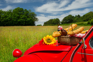 Aluminium Prints Picnic French car with bread and wine