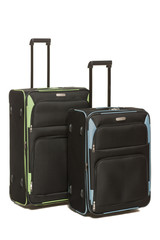 Two travel bags black with green and blue inserts over white