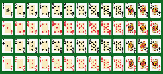 blackjack full deck in large size. Original figures..