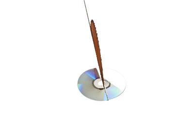 Data destruction concept - rusty buzzsaw destroying a DVD