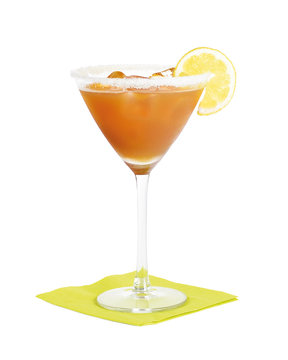 Amaretto Sour cocktail. Short drink made with Amaretto liqueur, sweet and sourmix in a martini glass.