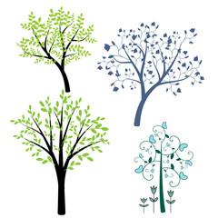 Decorative abstract trees set
