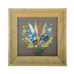 Painting flowers in wooden photo frame isolated on white backgro