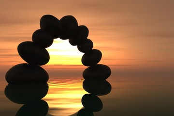Wall Mural - Zen stone arch in sunset