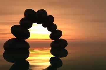 Fototapete - Zen stone arch in sunset