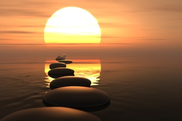 Wall Mural - Zen path of stones in sunset