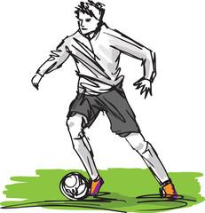 Sketch of Soccer Player Kicking Ball. Vector illustration