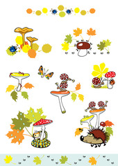 mushrooms with autumn leaves and little creature