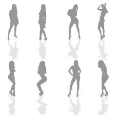 girl in silver color silhouette