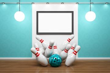 Bilderrahmen mit Bowling Pins und Kugel vor blauer Wand