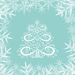 Christmas tree and snowflakes