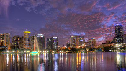 HDR image of orlando skyline with lake eola in foreground
