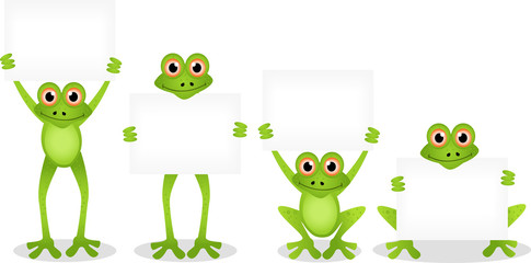 frog with blank sign