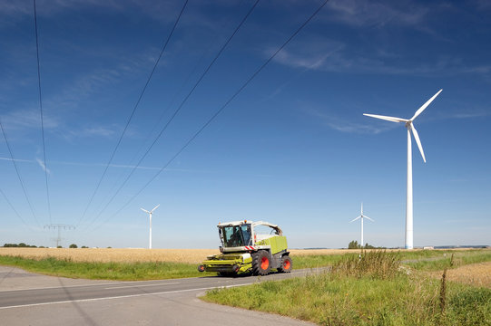 windmill, power line, skilled craft