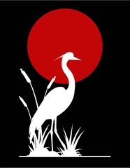 Papiers peints Rouge, noir, blanc heron silhouette with giant moon background