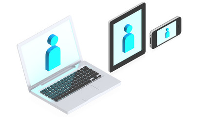 Laptop, tablet computer and mobile phone with man icons