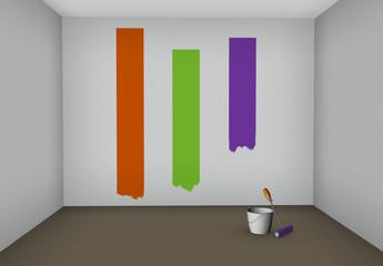 Pintando una pared en una habitación.Pintando una casa.