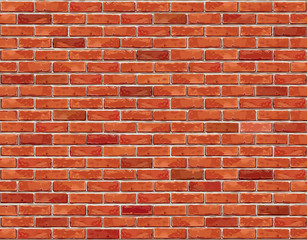 Red brick wall seamless Vector illustration background.