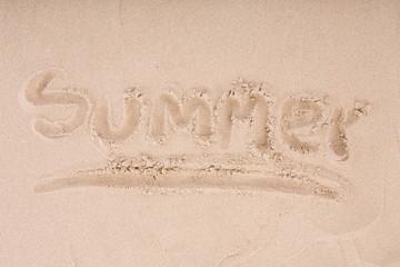 Inscription on wet sand Summer