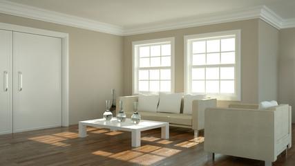 Wohndesign - Sofa vor Fenster beige 2