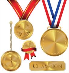 Vector illustration of gold medal