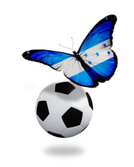 Concept - butterfly with Honduras flag flying near the ball, lik