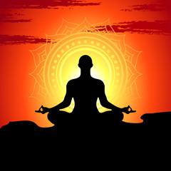 Vector illustration of meditating  and doing yoga man