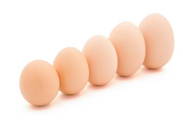 different size eggs line up with clipping path