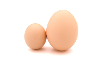 big and small eggs with clipping path