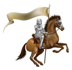 Aluminium Prints Knights Knight with spear and banner