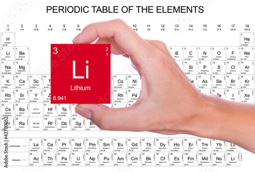 Lithium Symbol Handheld Over The Periodic Table Stock Photo And