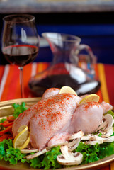 Raw chicken on a platter
