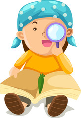 boy looking through a magnifying glass