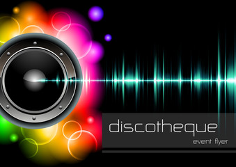 """vector template """"lights and sound"""" for disco events"""